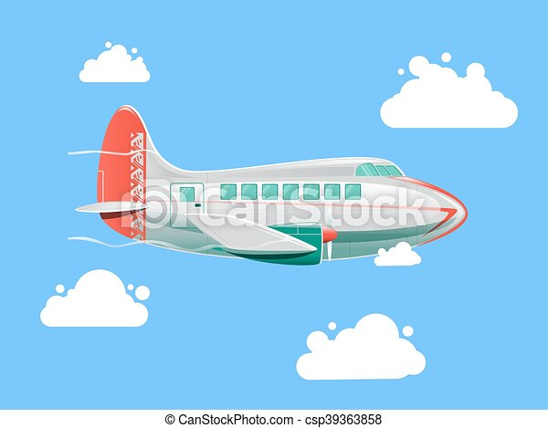 Airplane flying in the sky vector illustration - csp39363858