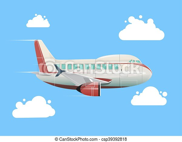 Airplane flying in the sky vector illustration - csp39392818