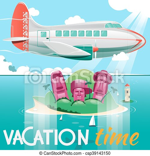 Airplane flying over island vector illustration - csp39143150