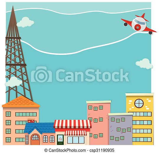 Airplane flying over the city - csp31190935