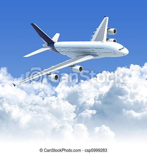 airplane flying over the clouds - csp5999283
