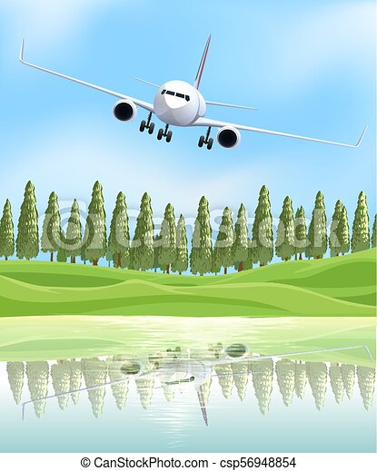 Airplane Flying Over the Lake - csp56948854