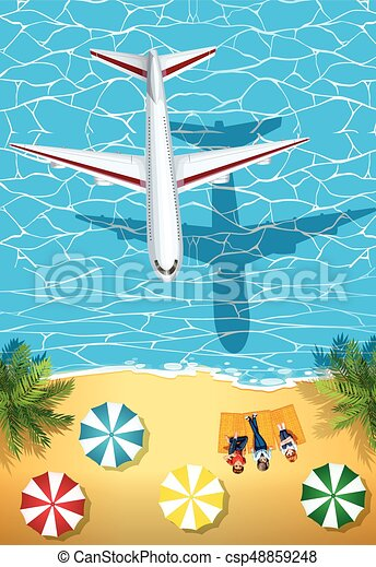 Airplane flying over the ocean - csp48859248