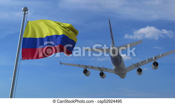 airplane flying over waving flag of colombia 3d rendering airplane