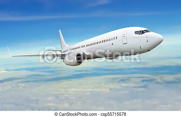 Airplane flying under blue and cloudy sky - csp55715578