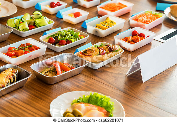 Airplane Food Presentation With Variety Of In Flight Meals Close