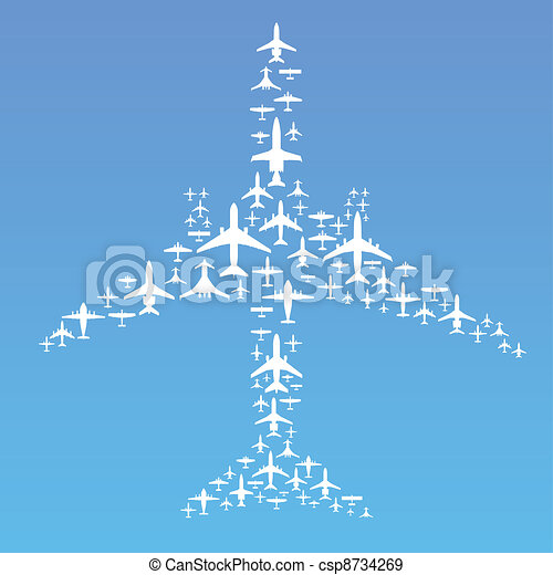 Airplane formation. Vector illustration of commercial
