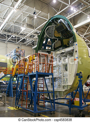 Airplane Fuselage In Production - csp4583838