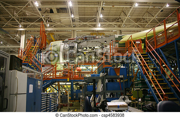 Airplane Fuselage in Production - csp4583938