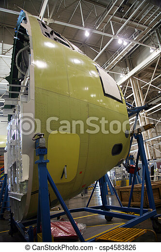 Airplane Fuselage In Production - csp4583826