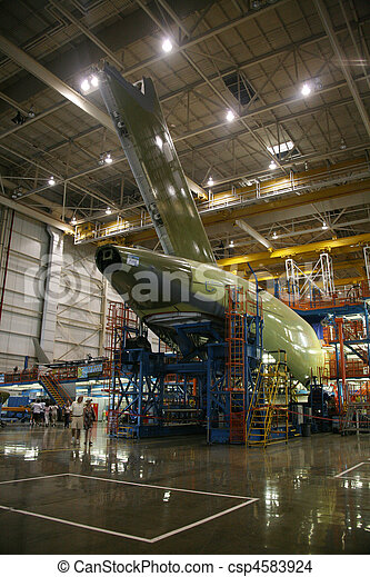 Airplane Fuselage in Production - csp4583924