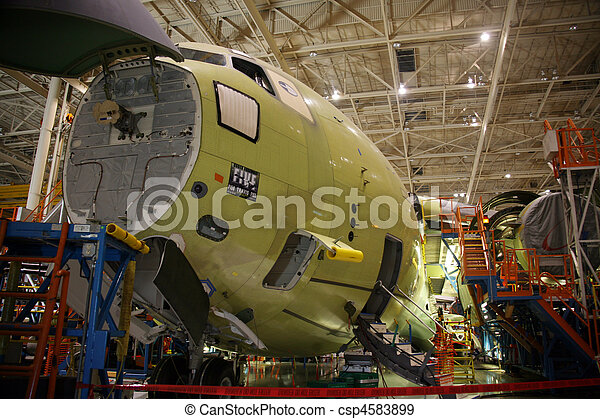 Airplane Fuselage in Production - csp4583899