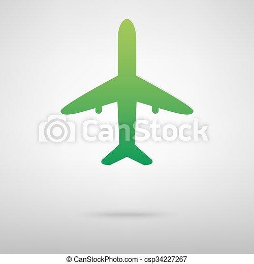 Airplane green icon - csp34227267