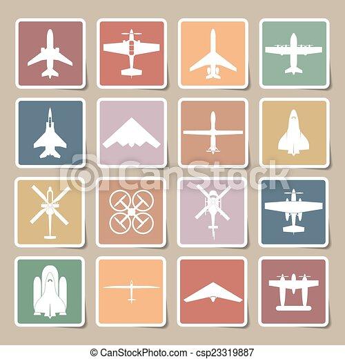airplane icons set - csp23319887