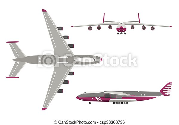 Airplane in a flat style on white background - csp38308736