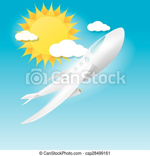 airplane in blue sky with sun and clouds.  - csp28499161