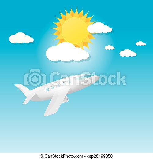 airplane in blue sky with sun and clouds.  - csp28499050