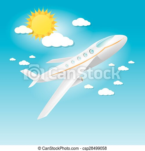airplane in blue sky with sun and clouds.  - csp28499058