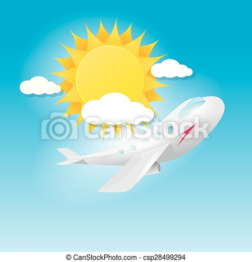 airplane in blue sky with sun and clouds.  - csp28499294