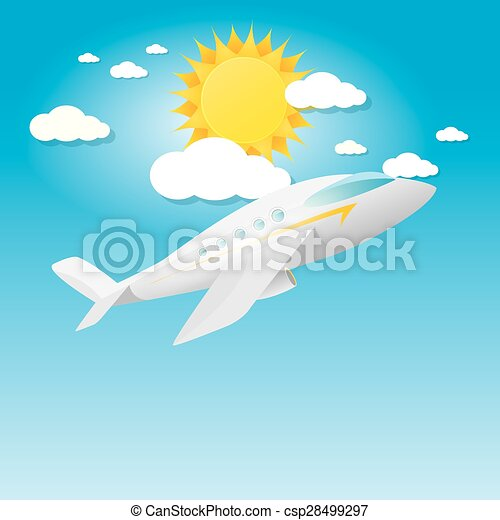airplane in blue sky with sun and clouds.  - csp28499297