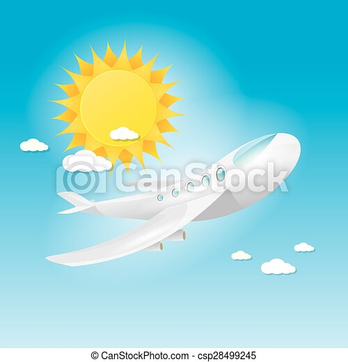 airplane in blue sky with sun and clouds.  - csp28499245