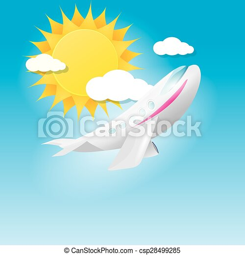 airplane in blue sky with sun and clouds.  - csp28499285