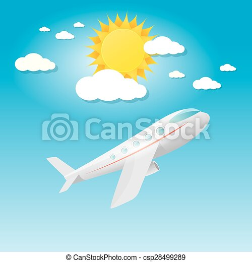 airplane in blue sky with sun and clouds.  - csp28499289
