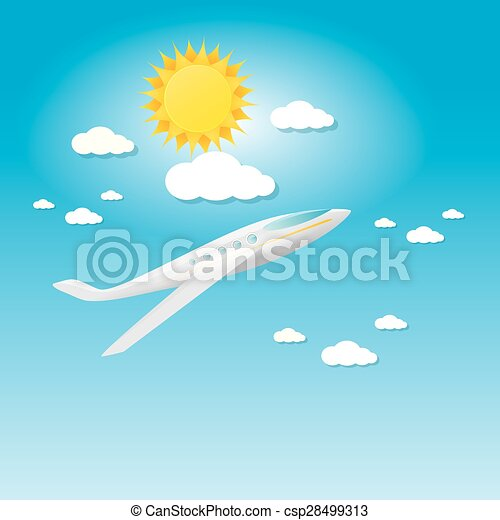 airplane in blue sky with sun and clouds.  - csp28499313
