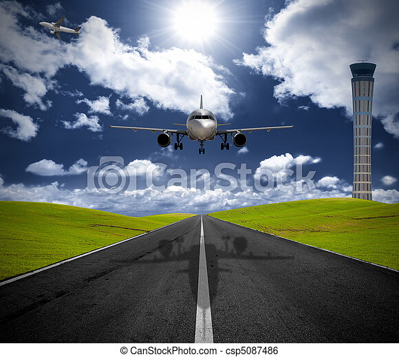 Airplane in the airport - csp5087486