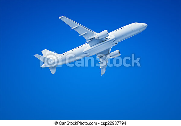 Airplane in the blue sky - csp22937794