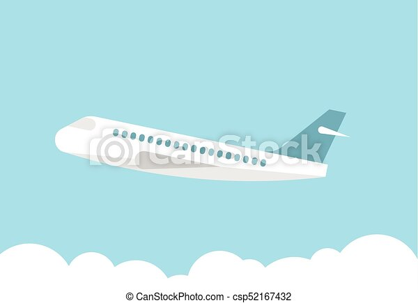 Airplane in the blue sky - csp52167432