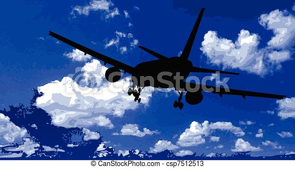 airplane in the blue sky - csp7512513