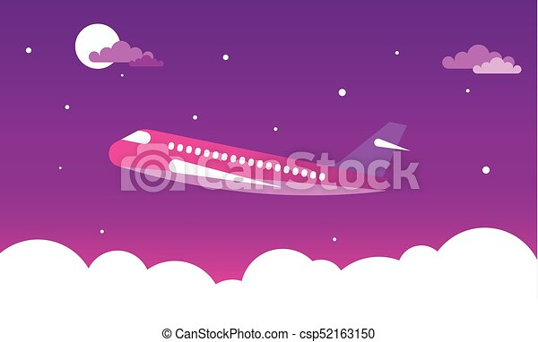 Airplane in the night sky - csp52163150