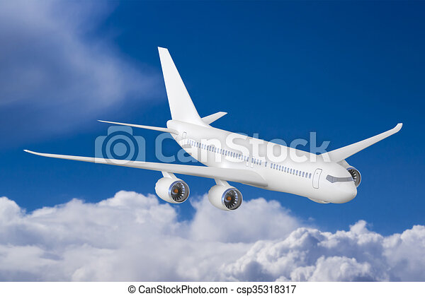 Airplane in the sky - csp35318317