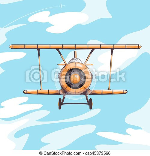 Airplane in the sky vector illustration - csp45373566