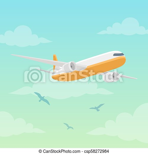 Airplane in the sky vector illustration - csp58272984
