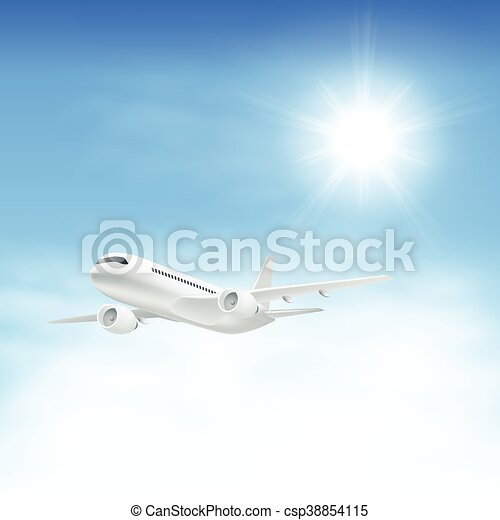 Airplane in the sky with sun - csp38854115