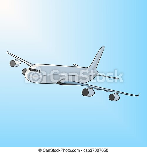 Airplane in the sun, vector illustration - csp37007658