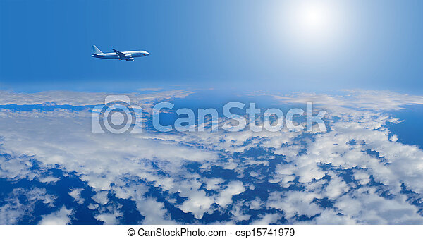 airplane inflight in the sky - csp15741979