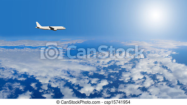 airplane inflight in the sky - csp15741954