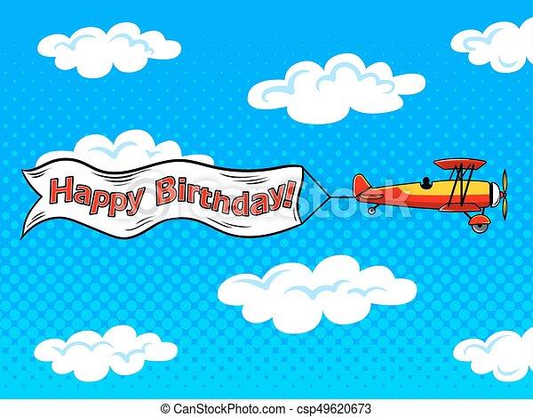 Airplane inscription across sky pop art vector - csp49620673