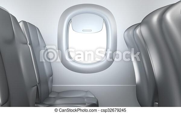 Airplane interior, seats, window - csp32679245