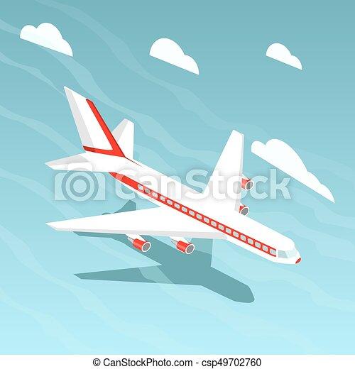 Airplane isometric style vector illustration - csp49702760