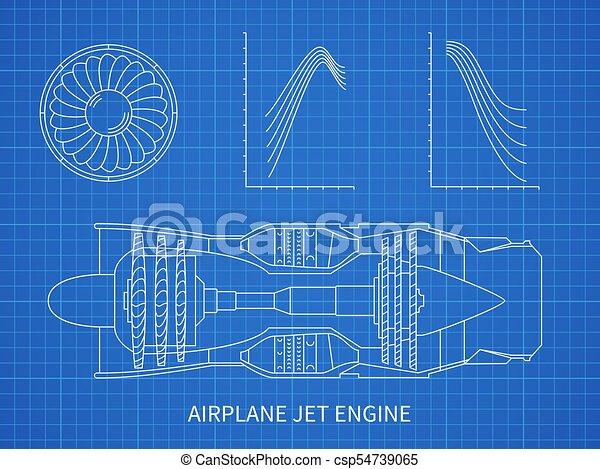 Airplane jet engine with turbine vector blueprint design airplane jet engine with turbine vector blueprint design malvernweather Choice Image