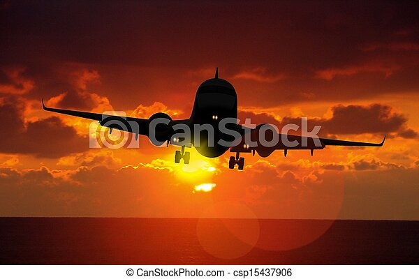 airplane landing - csp15437906