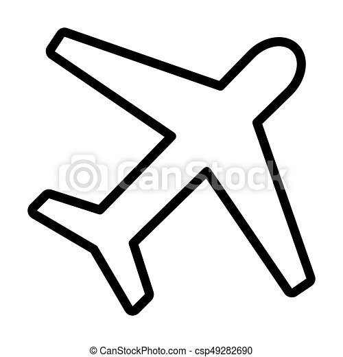 airplane line icon plane symbol in outline style vector