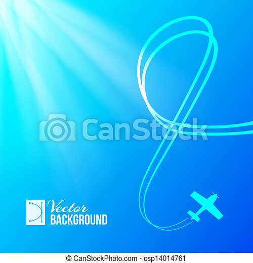 Airplane on blue background - csp14014761
