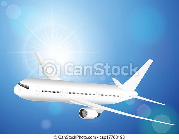 airplane on blue sky  - csp17783193