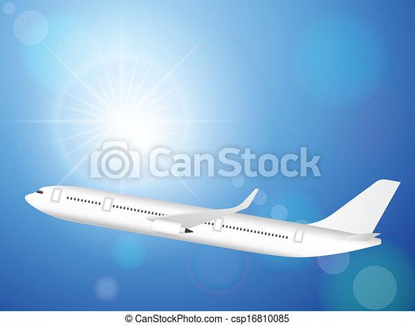 airplane on blue sky - csp16810085