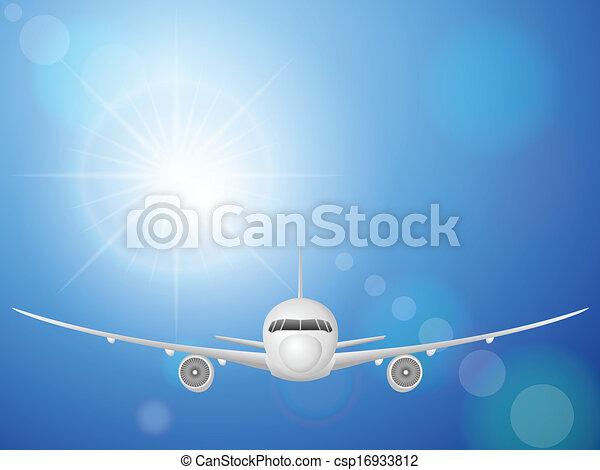 airplane on blue sky  - csp16933812